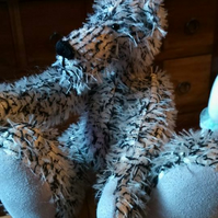 Wee  Black and White Mohair Bear