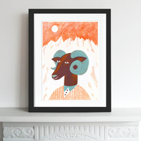 Big Discount! The Mountain Ram A3 print