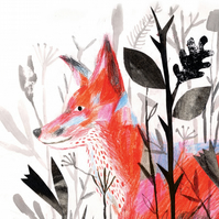 Fox art print, Fox in the undergrowth A3  print