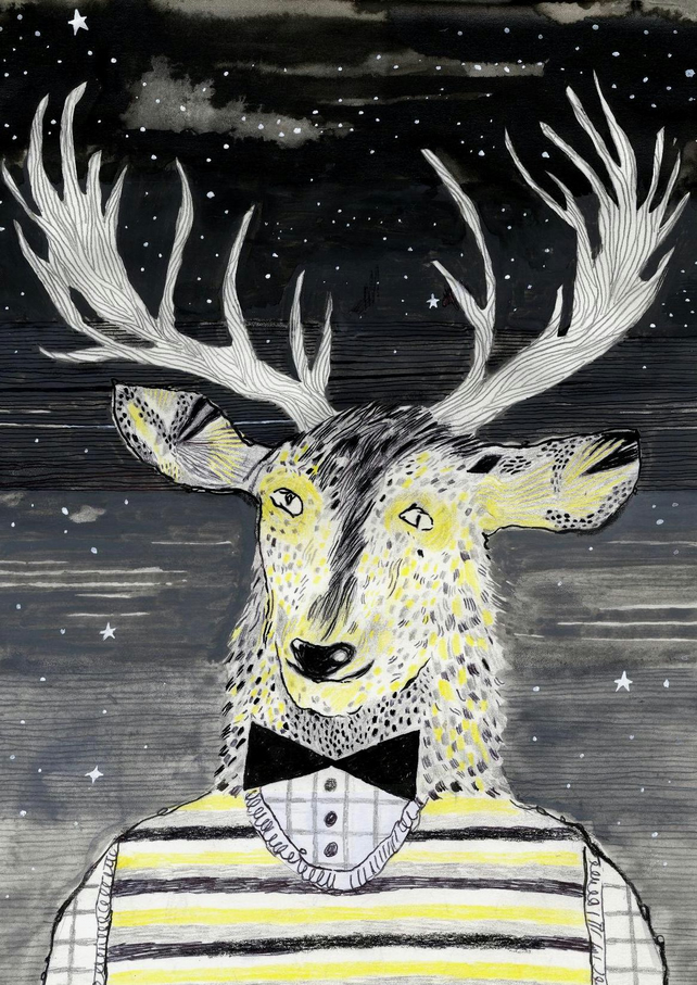 Big Discount! The Golden Stag in a striped tanktop A3 Print