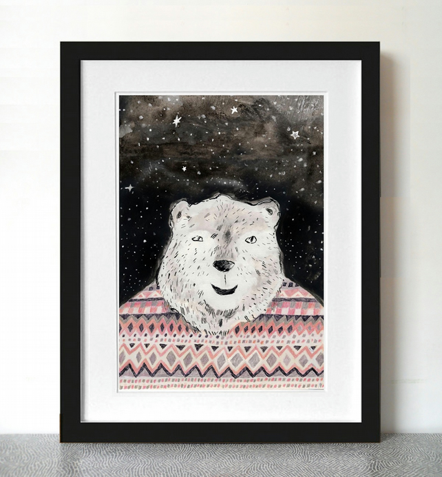 Big Discount! Polar bear art print, Polar bear in Fair Isle jumper A3 Print