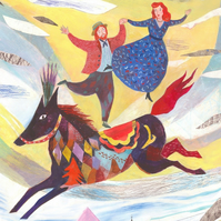 Riding the horse of life 16.54 in  x 11.69 (A3 Print)