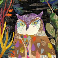 Illustration Art print, Owl art, An Owl in the Jungle (A3 11.69 in x 16.54 in)