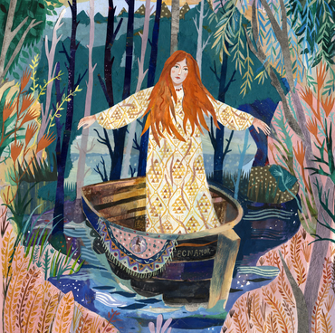 Illustration art print The Lady of Shalott A3 Print (11.69 in x 16.54 in)