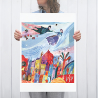 Illustration art print Above the Old Town A2 large format Giclee print