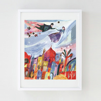 10% off! Illustration Art print, Above the Old Town A3 Art Print