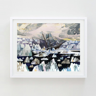 10% off! Illustration art print, Shackleton 16.54 in  x 11.69 (A3 Print)