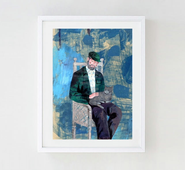 Illustration Art print, Man With a Cat A3 (16.54 in by 11.69 in) Art Print