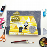 Original Still Life Collage Painting, 30cm x 21cm