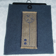 Wool felt and Scottish tweed iPad sleeve