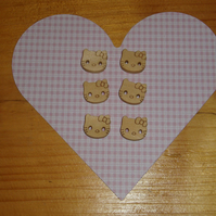 Wooden kitty buttons