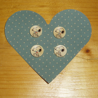Wooden Snoopy buttons