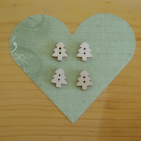 Four wooden Christmas Tree buttons