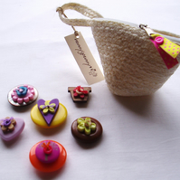 Button fridge magnets in a rattan purse