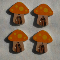 Wooden Painted Toadstool Buttons