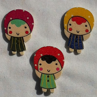 Wooden painted girl buttons