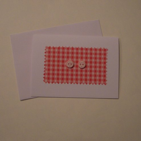 Two Hearts Together..... Simple Gingham and Heart Button Card