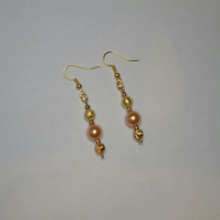 Stunning and Elegant Faux Pearl and Gold Coloured Bead Earrings for Pierced Ears