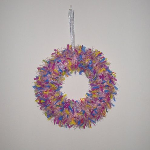 Fun Fluffy Pink Decorative Christmas Wreath