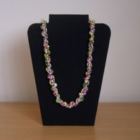 Pink Green and Gold Coloured Bead Necklace