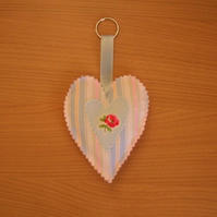 Pastel Stripe & Floral Heart Shape Decoration with Key Ring
