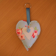 Blue Floral & Striped Heart Shaped Decoration with Key Ring