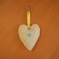 Green and Blue Hanging Heart Decoration with Key Ring