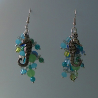 The Sea Earrings - Blues Greens and Sea Horse Charms