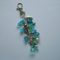 The Sea Bag Charm - Blues Greens and Sea Theme Charms