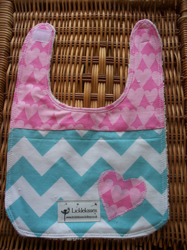pink and blue bib