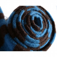 Teal and Chocolate Skinny Felted Scarf - Merino Lambswool