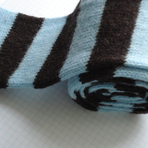 Tiffany Blue and Chocolate Skinny Felted Scarf - Merino Lambswool