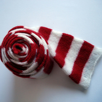 Sailor Stripe Scarf - Handmade in Red & White Merino Lambswool