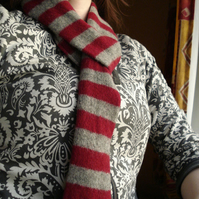 Maroon and Grey Skinny Felted Scarf