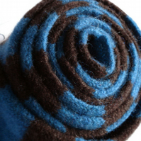 Teal and Chocolate Skinny Felted Scarf, reserved for cheesevangelist