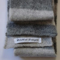 Grey Skinny Striped Scarf