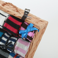 Chocolate & Pink Striped Scarf - Felted Merino Lambswool