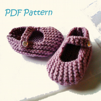 Mary Jane Baby Shoes 3-6 months PDF Knitting Pattern - Digital Download