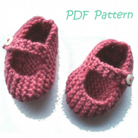 Mary Jane Baby Shoes 0-3 months PDF Knitting Pattern - Digital Download