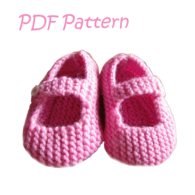 Mary Jane Baby Shoes 6-12 months PDF Knitting Pattern - Digital Download