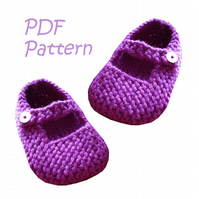 Mary Jane Baby Shoes 12-18 months PDF Knitting Pattern - Digital Download