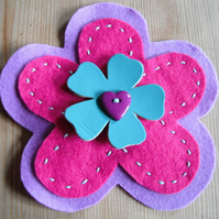 Colour Burst Flower Brooch in Pink