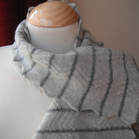 Zig-zag Scarf in Soft Greys - Felted Wool