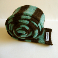 Child's Scarf in Spearmint & Chocolate - Felted Merino Lambswool