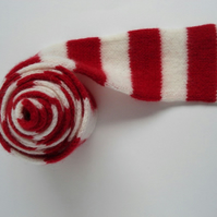 Child's Scarf in Red & White - Felted Merino Lambswool - Handmade Knitwear