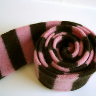 Child's Scarf in Chocolate & Pink - Felted Merino Lambswool - Handmade Knitwear