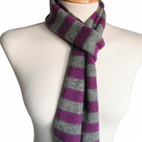 Purple and Grey Skinny Felted Scarf - Handmade striped scarf - Merino Lambswool