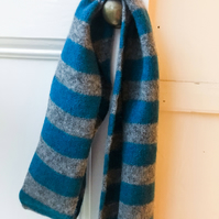 Teal Blue and Grey Skinny Felted Scarf - Merino Lambswool - Handmade Knitwear
