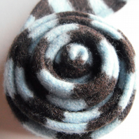 Child's Scarf in Sky Blue & Chocolate - Felted Merino Lambswool - Handmade Knit