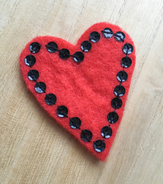 Red Heart Sequin Brooch - Hand stitched felt brooch - Red and black romance